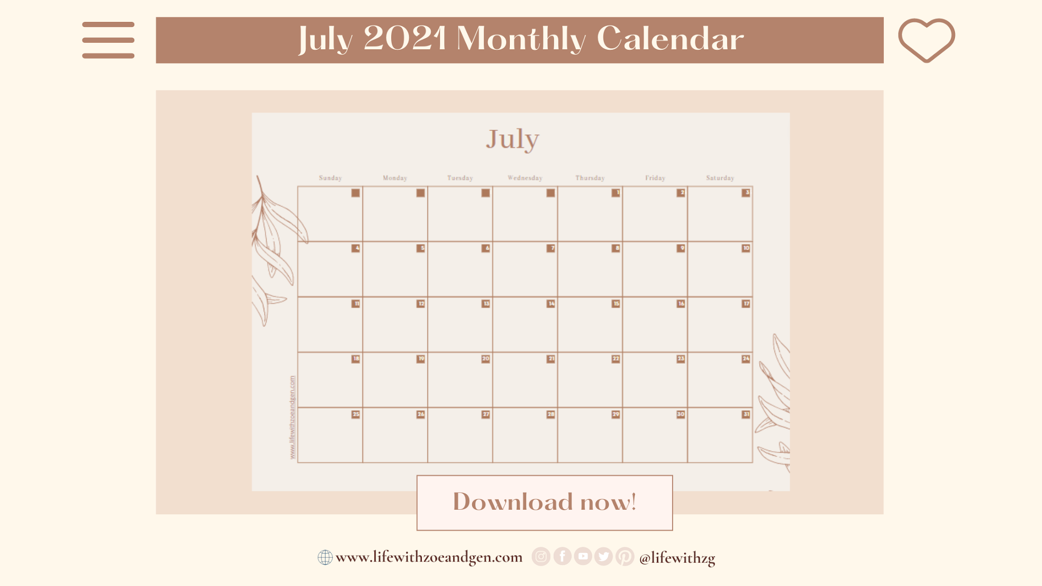 July 2021 to December 2021 Minimalist Monthly Calendar template. Free download. l Life with ZG l Digital Journaling