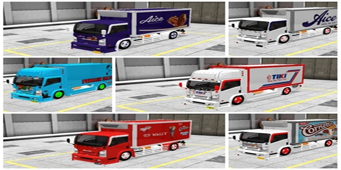 livery mod truck isuzu nmr71 box bussid