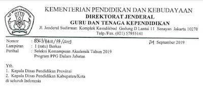 Seleksi PPG Dalam Jabatan Tahun 2019