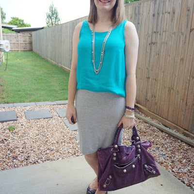 awayfromblue Instagram | jeanswest vickie turquoise tank with grey jersey pencil skirt summer office outfit purple balenciaga work bag