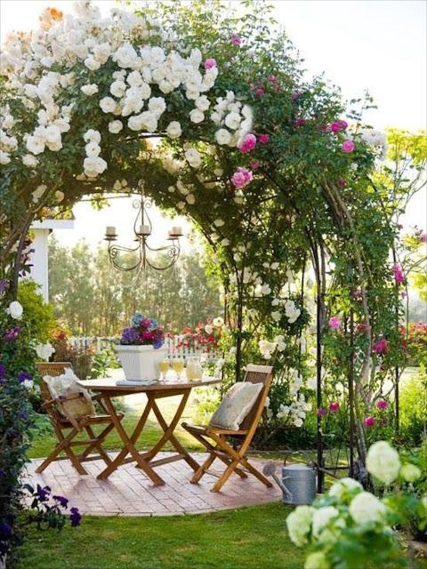 backyard pergola rose garden ideas