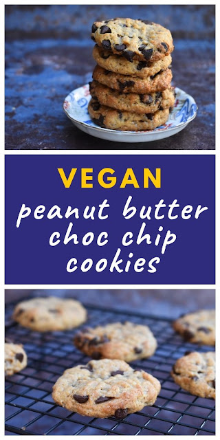 Easy Vegan Peanut Butter Chocolate Chip Cookies - one-bowl quick cookie dough with tips and printable recipe. Can be frozen for later. #vegancookies #veganpeanutbuttercookies #veganchocchipcookies #quickcookies #onebowlcookies