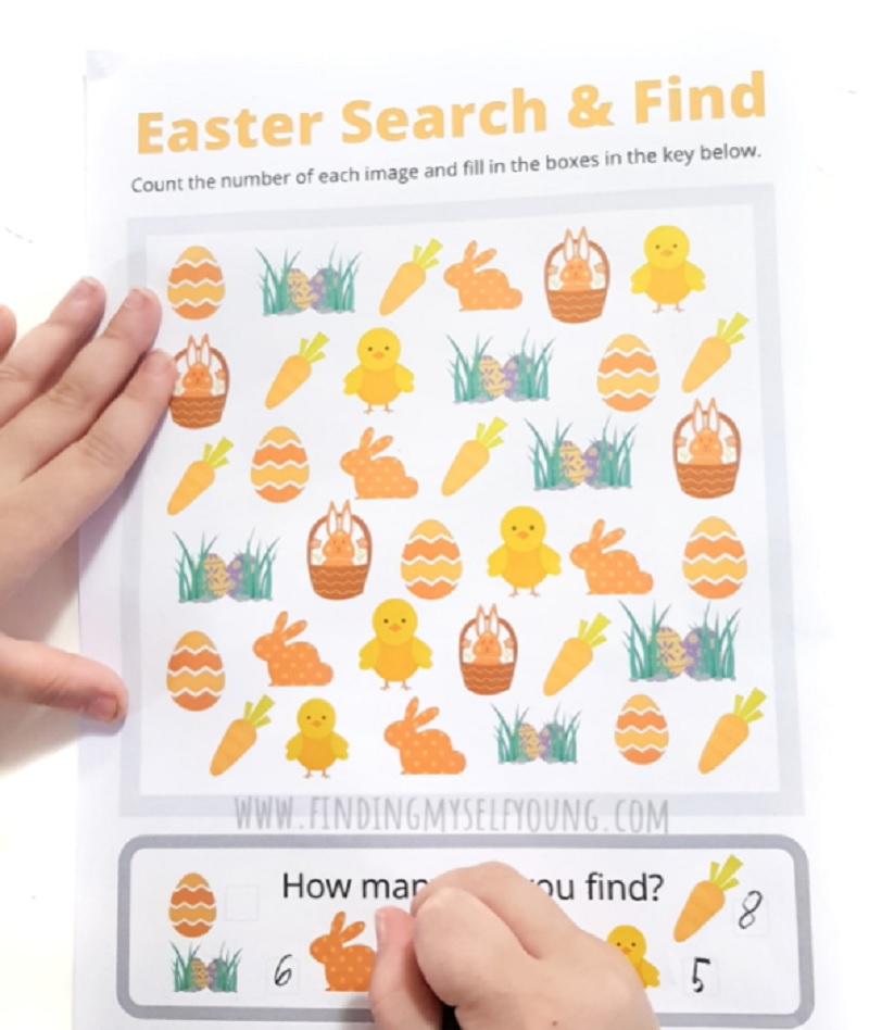 free easter search and find activity for kids