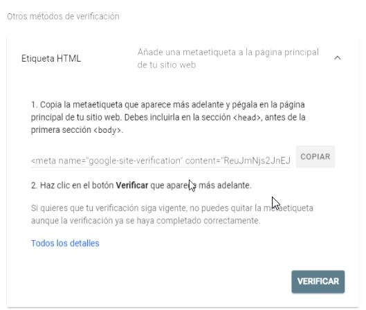 Otros métodos de verificación Google Search Console