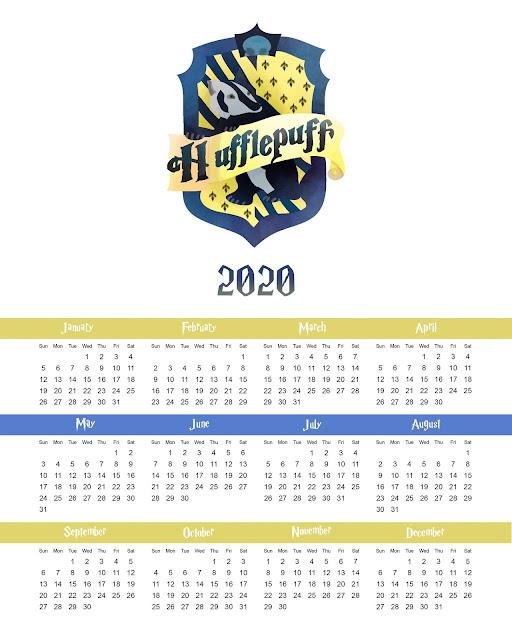 Hufflepuff: Free Printable 2020 Calendar.