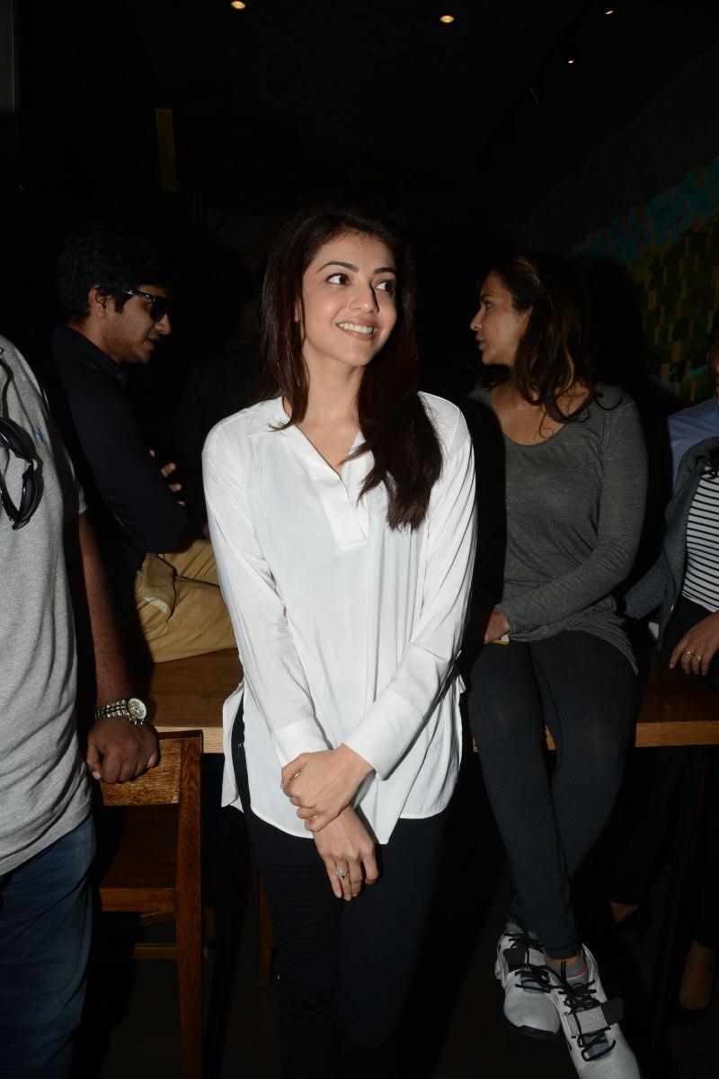 Kajal Agarwal Teeth Photos In White Shirt