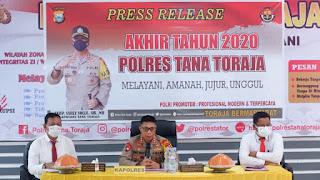 Press Release Akhir Tahun 2020, Ini Capaian Kinerja Polres Tana Toraja