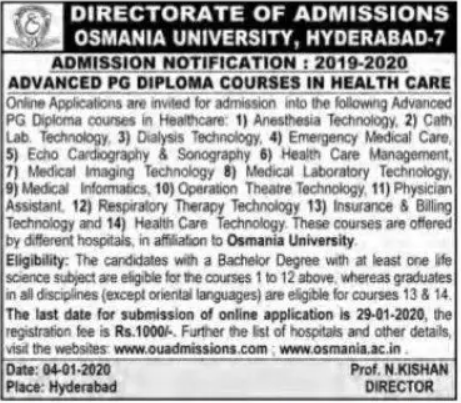 Advanced pg diploma courses in osmania university 2020 notification