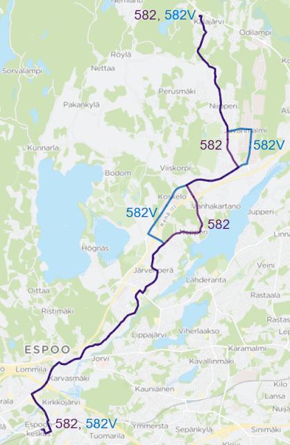 Linjavariantille 582V lisätään kierros Koskelon kautta reittiä Kulloonmäentie - Kulloonsilta - Koskelontie - Juvankartanontie