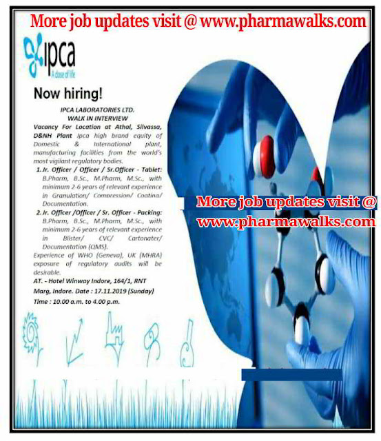 IPCA Laboratories - Walk-in interviews on 17th November, 2019