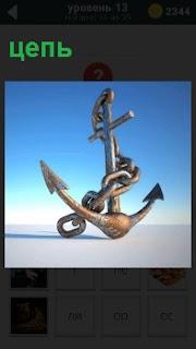 Якорь, вокруг которого намотана обычная цепь, предназначенная для кораблей