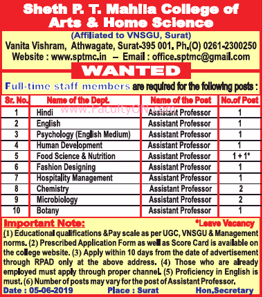 Sheth P T Mahila College Of Arts And Science Surat Assistant Professor Jobs Vacancy June 2019 Faculty Teachers