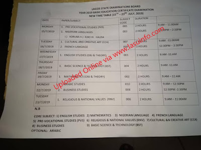 2019 Lagos State (BECE) Exam Time-Table [15th - 23rd July 2019]