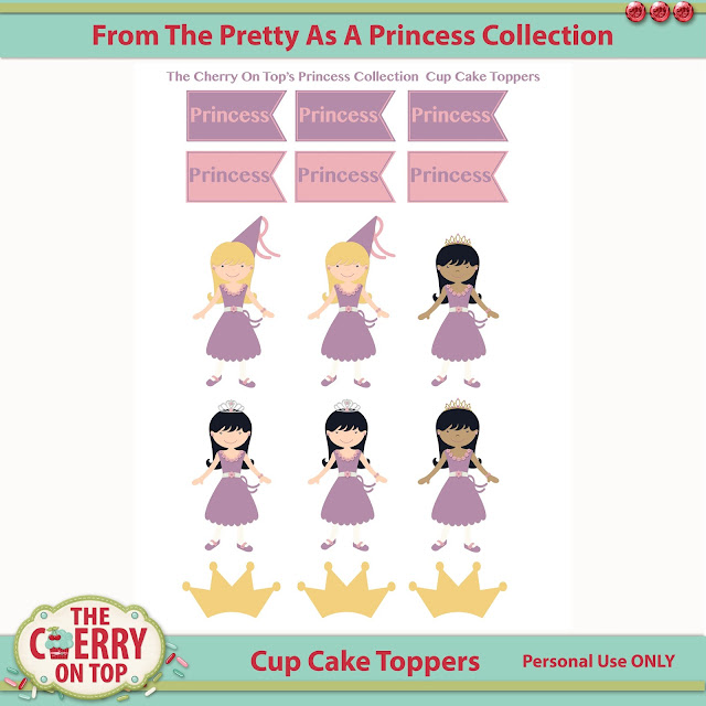 Princess Cup Cake Toppers