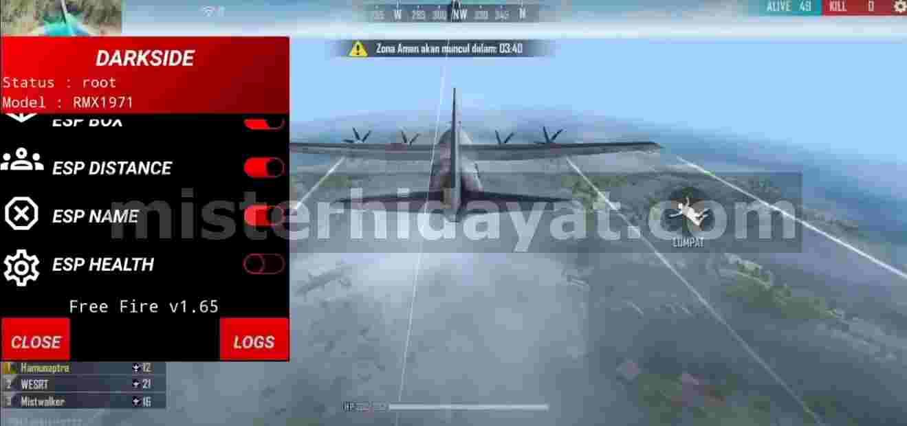 Apk Free Fire Mod Darkside Terbaru Auto Headshot, Aimbot, Esp, Dll