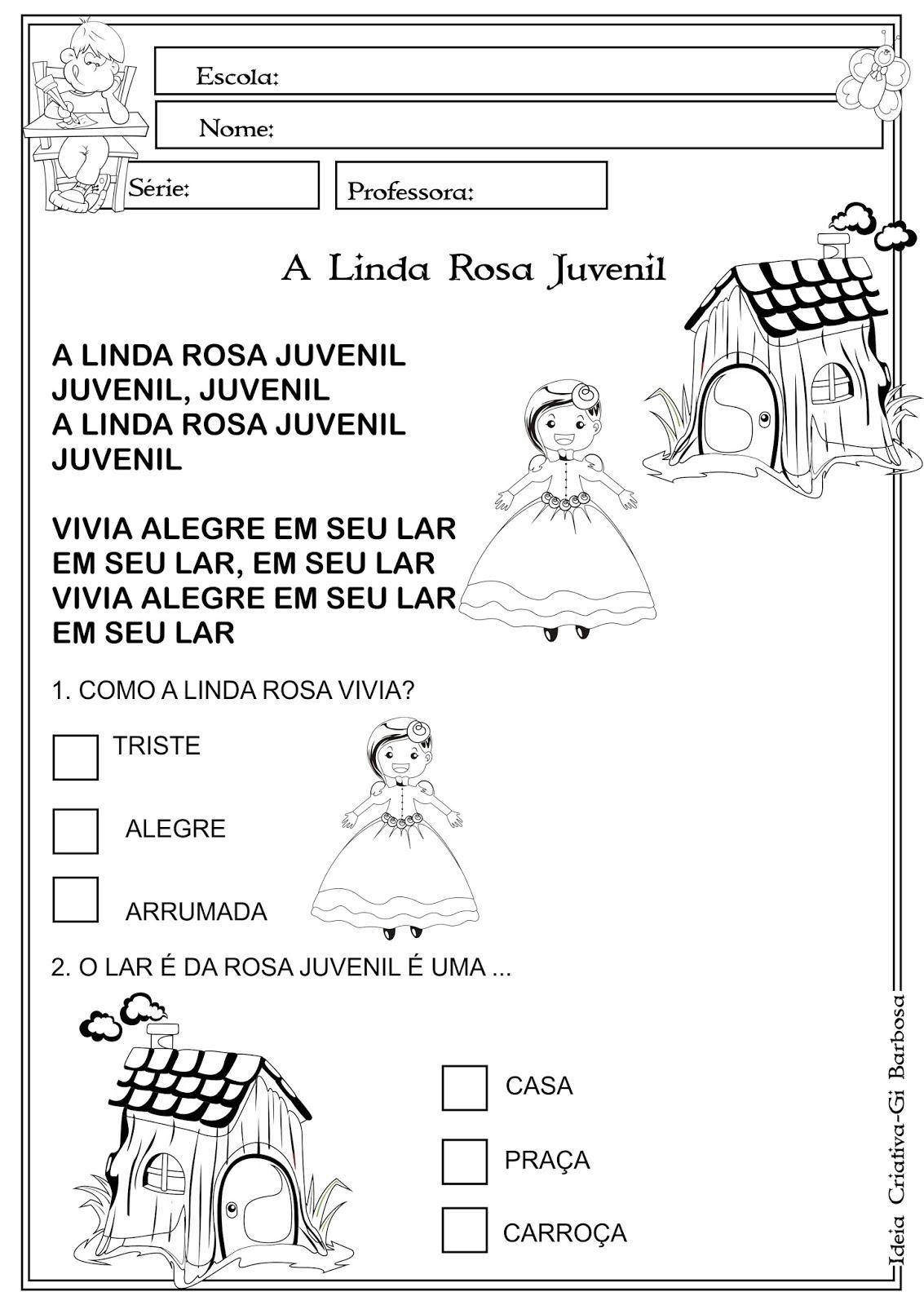 Atividade A Linda Rosa Juvenil Interpretacao De Texto Com Questoes