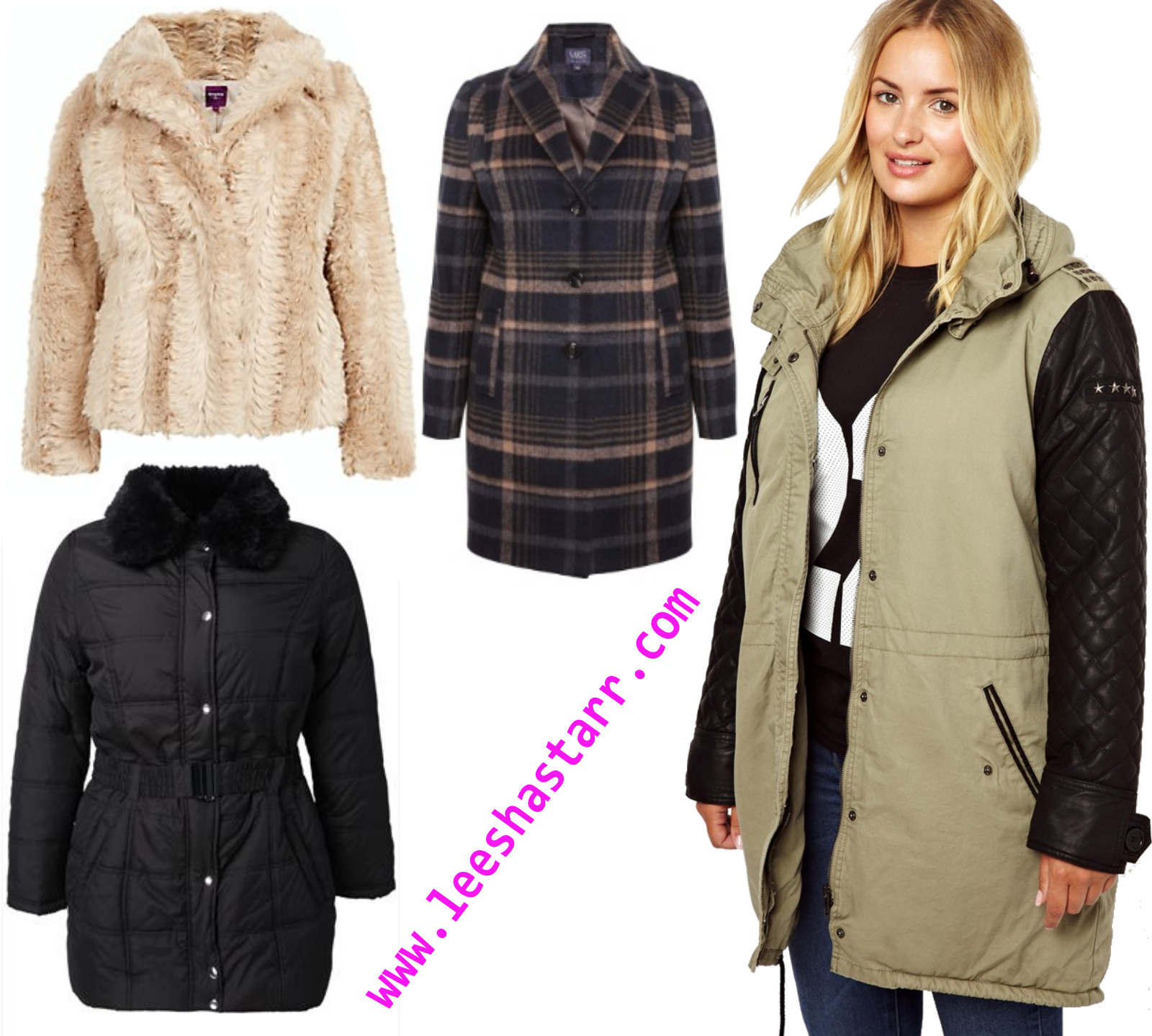 219bb4cc386 Yours Clothing Black quilted fur collar jacket  Price £55. M S Checked Coat  with Wool  Price £89. ASOS Quilted Leather Look Sleeve Parka  Price £110