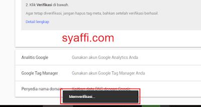 16. Proses Verifikasi kepemilikan situs pada Google Search Console