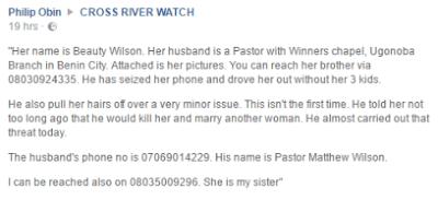 Winners Pastor Beats Wife Mercilessly (Ugonabo Benin City Branch)