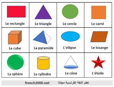 الاشكال الهندسية باللغة الفرنسية