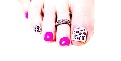 Pink, Black and White Leopard Pedicure: Toenails Design