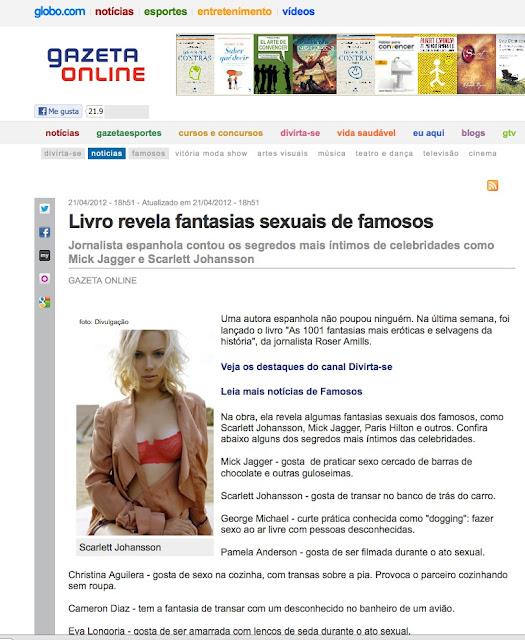 Gazeta Online GLOBO.COM | Livro revela fantasias sexuais de famosos