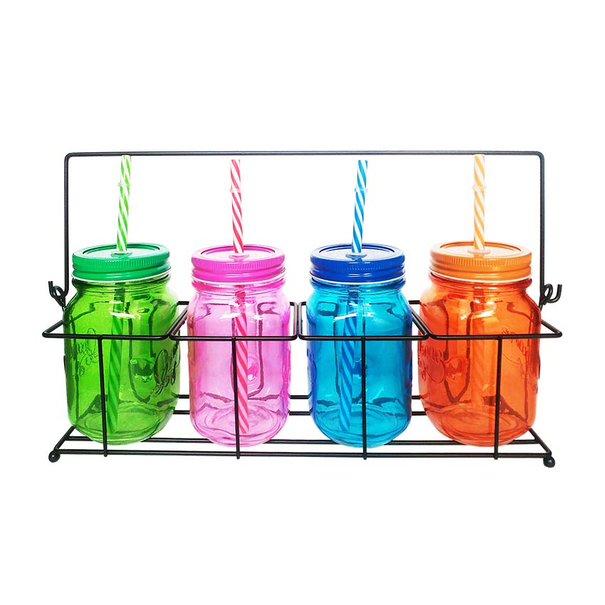 OX-022 4Pcs Rainbow Mason Mug Oxone with Rack
