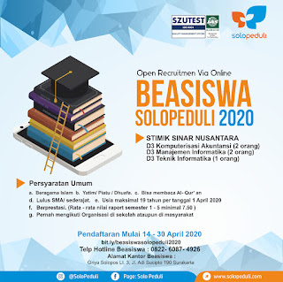 Informasi Pendaftaran Beasiswa Solopeduli - STMIK SINUS Tahun 2020