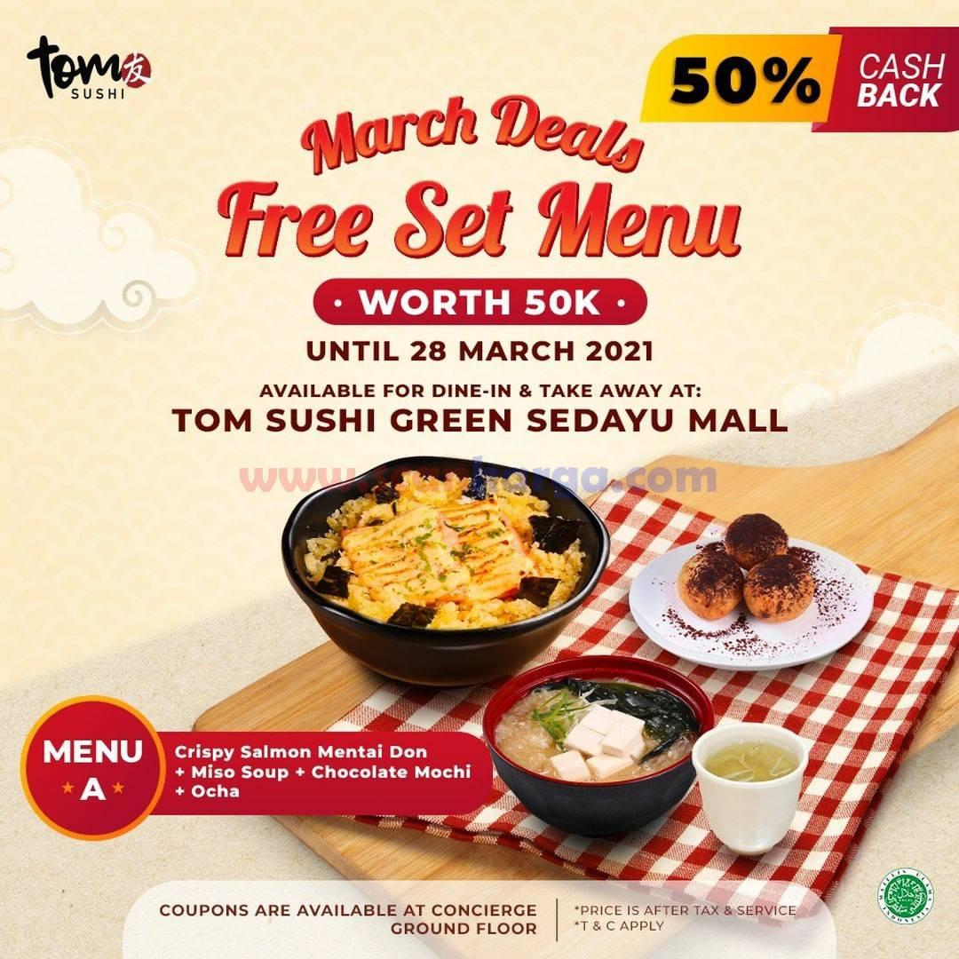 TOM SUSHI Green Sedayu Mall Promo March Deal Gratis Set Menu Worth 50K
