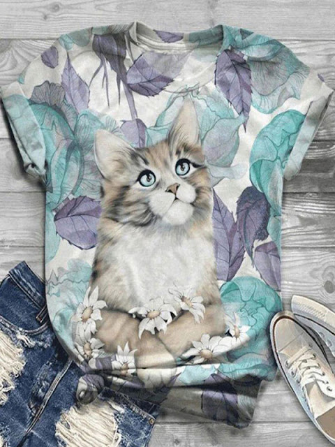 Round Neck Short Sleeve Cat Print Loose Casual T-Shirt