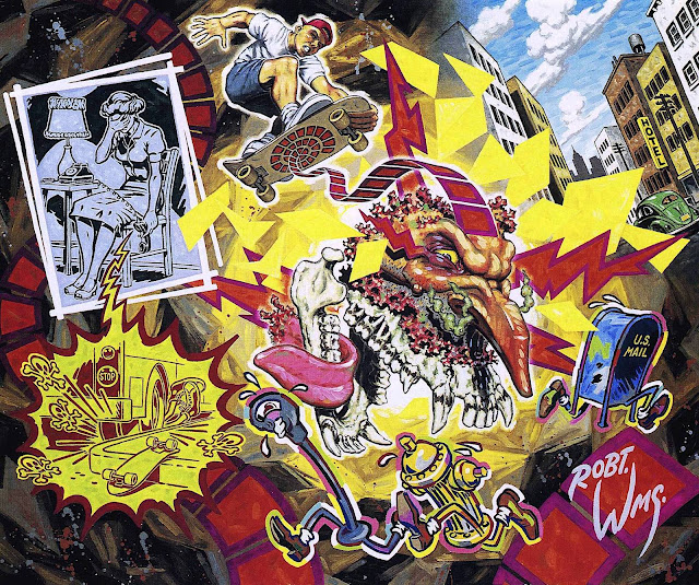a Robert Williams painting of a boy's skateboard injury
