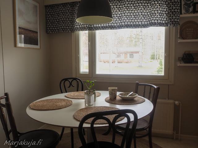 koti sisustus boheemi boho skandinaavinen juutti keittiö matto pöytä tondejavu wieniläis tuoli