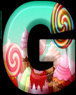 Abecedario 3D con Golosinas. 3D Alphabet with Candies.