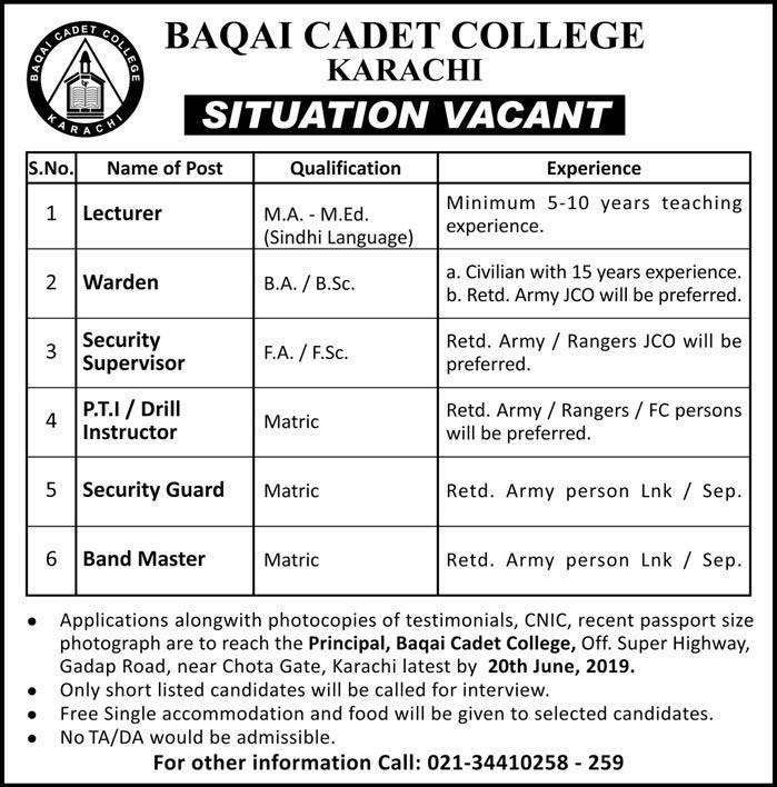 Today Jobs in Baqai Cadet College Karachi 09 June 2019
