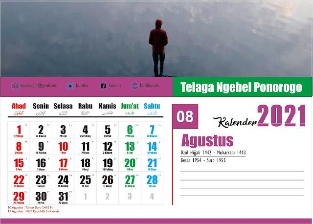 Kalender 2021 Bulan Agustus