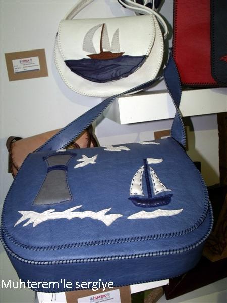 marin desenli deri çanta