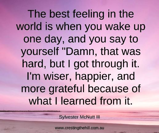 "The best feeling in the world is when you wake up one day, and you say to yourself ""Damn, that was hard, but I got through it. I'm wiser, happier, and more grateful because of what I learned from it."