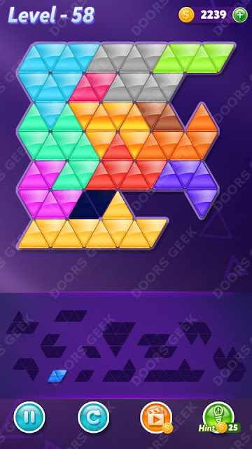 Block! Triangle Puzzle Champion Level 58 Solution, Cheats, Walkthrough for Android, iPhone, iPad and iPod