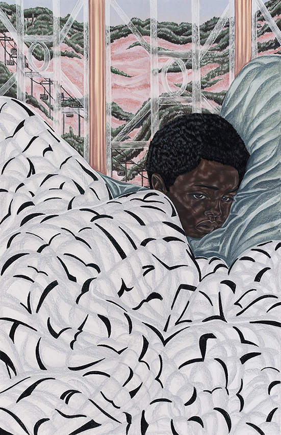 Toyin Ojih Odutola  First Night at Boarding School, 2017 charcoal, pastel and pencil on paper 63 3/4 x 41 1/2 inches