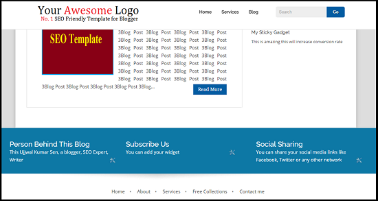 Blogger Responsive Template, Very Fast Loading