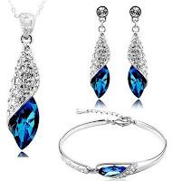 Valentine Gift By Italian Designer Non Precious Metal Jewellery Set for Women (Blue)