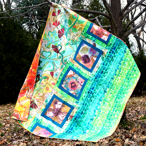 Dovetail Baltic Squares Quilt Designed by Free Spirit Fabric, featuring Art Excursion by Denise Burkitt