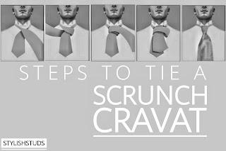 Different steps of tieing a scrunch cravat