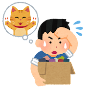猫の手も借りたい人のイラスト(男性)