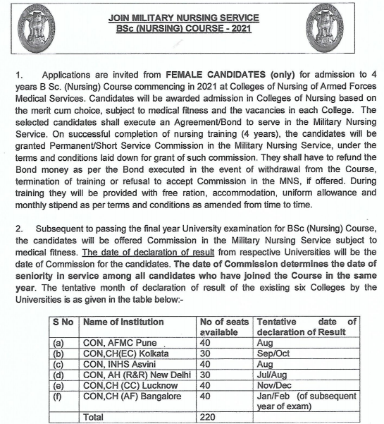 Indian Army MNS online form 2021