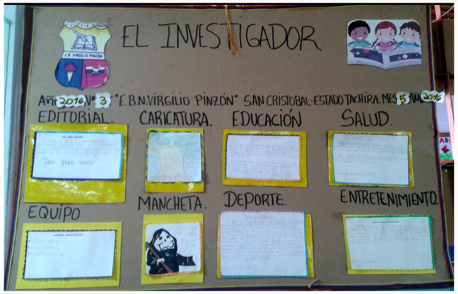Escuela bolivariana virgilio pinz n peri dicos murales de for Componentes de un periodico mural