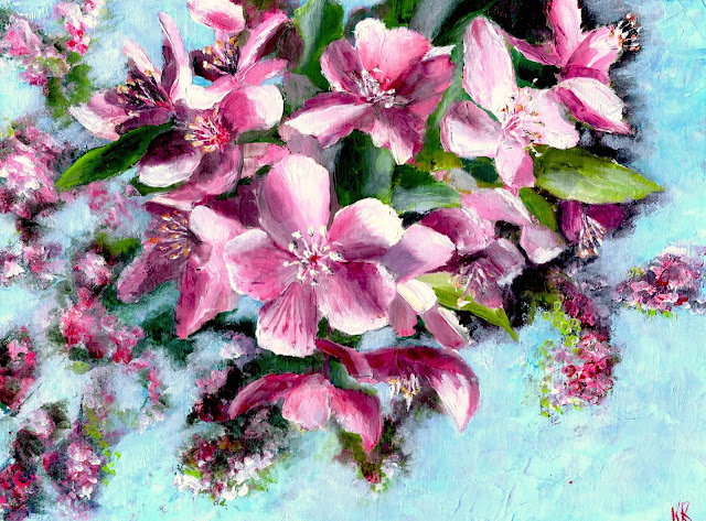 oil painting of apple blossom