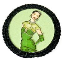 Broche ilustrado en verdes. VENDIDO