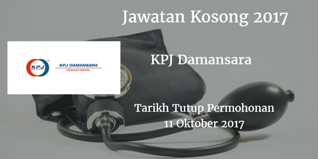 Jawatan Kosong KPJ Damansara 11 Oktober 2017