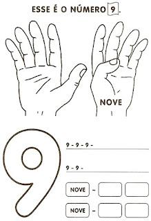 Numeral 9 escrever e colorir